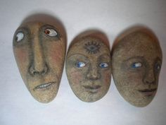 Outsider Art Original Painting on Rock Folk Kaveman Halloween OOAK Zombie Stone | eBay