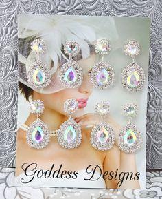 Bridal Earrings Set of Four Wedding Earrings by goddessdesignsgems, $65.00