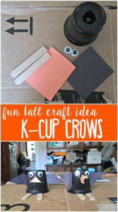 This K-Cup crow is so easy to make! Honestly the longest part was waiting for the glue gun to heat up. A super fun and easy craft idea.
