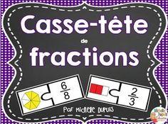 Casse-tête de fractions  Les fractions sont souvent un concept difficile à comprendre et à maitriser pour certains enfants. Cette ressource contient 20 casse-tête qui permettront aux élèves de mieux comprendre les fractions tout en jouant.