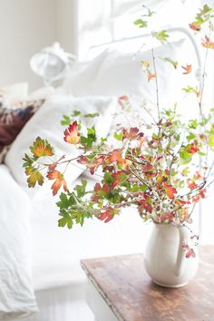 autumn branches for the bedside table