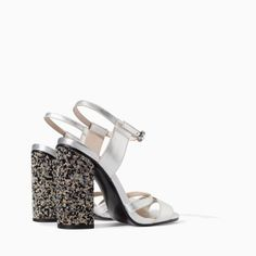 ZARA - WOMAN - LEATHER HIGH HEEL SANDAL WITH DIAMANTE