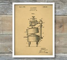 Patent Print, Patent Poster, Electric Washing Machine From 1926 - Patent Art Print,  Kitchen Decor - Laundry Art - Laundry Room, P241