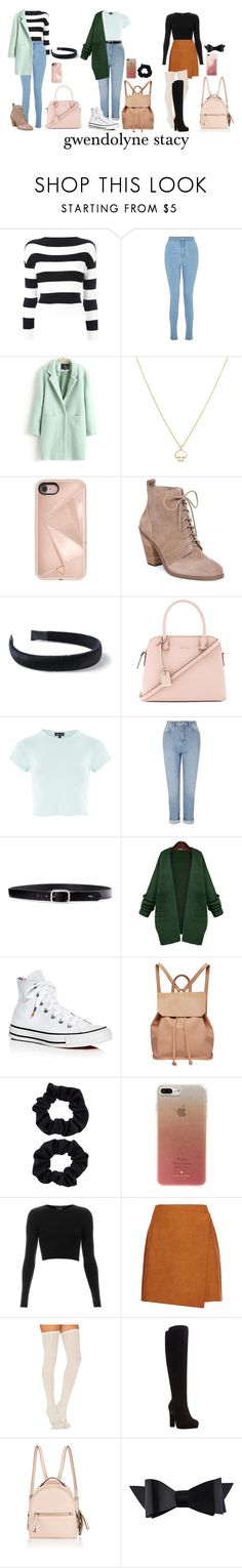 """""""Gwen Stacy - Spider-Man"""" by forever-a-kaitlyn ❤ liked on Polyvore featuring Boutique Moschino, Miss Selfridge, Kate Spade, Rebecca Minkoff, Jessica Simpson, Topshop, Lauren Ralph Lauren, WithChic, Converse and Urban Originals"""