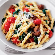 Gemelli with Sweet Sausage and Spinach | Food & Wine - cooked 6 oz of gemelli and 2 oz of spinach - could have used more spinach - would be really good with sausage but is good as a vegetarian dish