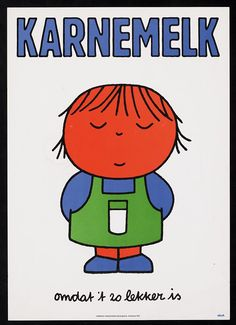 Vintage early 70s Dutch advertisement illustrated by Dick Bruna (miffy). Buttermilk. Because it's so nice.