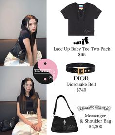 Kpop Fashion Outfits, Blackpink Fashion, Korean Fashion, Lisa, Unif, Lace Up, Ootd, Shoulder Bag, Tees
