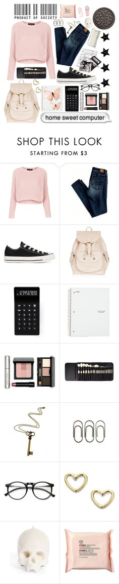 """""""School time:)"""" by petradunja ❤ liked on Polyvore featuring Topshop, American Eagle Outfitters, Converse, LEXON, Bobbi Brown Cosmetics, Rock 'N Rose, Clips, INDIE HAIR, Marc by Marc Jacobs and The Body Shop"""