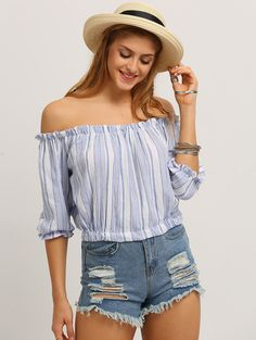 Vertical Striped Off-The-Shoulder Blouse | MakeMeChic.COM