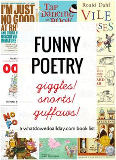 Good funny poems that kids will love! This collection of funny poetry books will get kids laughing and loving verse and funny rhymes. Including classic poetry and contemporary funny poems, this books are wonderful. Poetry Books For Kids, Books For Teens, Good Books, Funny Poems For Kids, Funny Rhymes For Kids, Best Poems For Kids, Rhyming Poems, Forms Of Poetry, Read Aloud Books