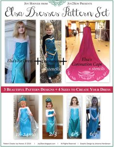 Elsa Frozen Complete PDF Pattern Set for Ice Dress, Coronation Dress, and Coronation Cape (Including 8/9 for Elsa Ice Dress Only)