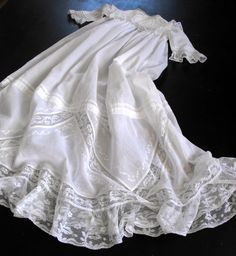 Vintage Victorian Christening Gown Irish w/ fine Handworked Embroidery With Petticoat. $525.00, via Etsy.