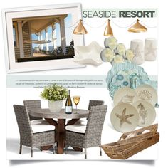 Seaside Resort by clotheshawg on Polyvore featuring polyvore interior interiors interior design home home decor interior decorating Pottery Barn Pablo Sur La Table Dot & Bo Versace Nearly Natural seasideresort