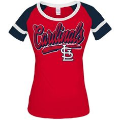 5th & Ocean Women's St. Louis Cardinals Homerun T-Shirt ($32) ❤ liked on Polyvore featuring tops, t-shirts, lightblue, red tee, tee-shirt, red shirt, layering t shirts and vintage style t shirts