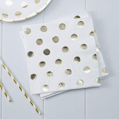 Gold Foil Polka Dot Napkins (Pk16)