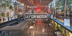 Restaurante de aire cosmopolita y ecléctico que mezcla los elementos mas identificativos de Nueva York. La 5ª con Madison, Manhattan en el centro de Madrid.