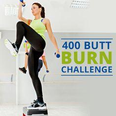 Burn fat and tighten your lower half like never before with this 400 Butt Burn Challenge!  #buttburnchallenge #fitnesschallenge #weightloss