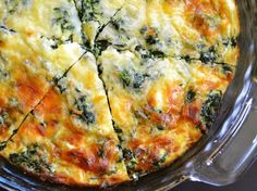 Spinach, Mushroom & Feta Crustless Quiche.  Yum!!!
