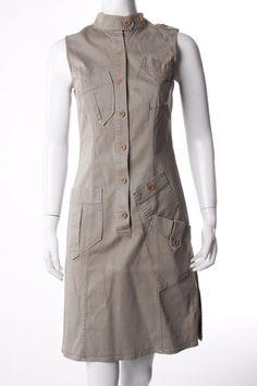 AIGNER Blusenkleid mit aufgesetzten Taschen Damen Gr. DE 36 beige Kleid Dress…