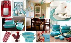 All The Little Things: Turquoise and Red Kitchen