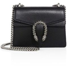 Gucci Mini Dionysus Leather Chain Shoulder Bag (2,535 CAD) ❤ liked on Polyvore featuring bags, handbags, shoulder bags, gucci, apparel & accessories, black, real leather purses, gucci shoulder bag, gucci purses and chain shoulder bag