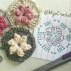 Transcendent Crochet a Solid Granny Square Ideas. Inconceivable Crochet a Solid Granny Square Ideas. Diy Crochet Doilies, Appliques Au Crochet, Crochet Puff Flower, Crochet Motifs, Crochet Flower Patterns, Love Crochet, Crochet Designs, Crochet Flowers, Crochet Blocks