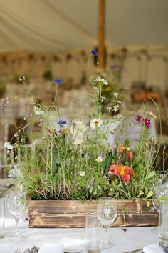 pretty rustic wooden floral displays full of wildflowers | www.onefabday.com