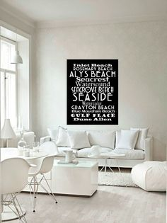 30A Beaches Subway Art Canvas  30A Typography by VintageBeachMaps