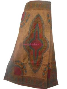 Modest African Skirt Maxi Wrap Skirt Ankara Party Long Dashiki Skirt Brown Burgu #Handmade #AfricanWaxSkirt African Dashiki Shirt, Dashiki Skirt, Ankara Skirt, African Skirt, Tie Dye Skirt, Wax, Skirts, Fabric, Denim
