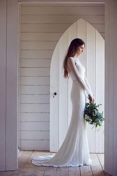 sequin gown with illusion sleeves, http://ruffledblog.com/karen-willis-holmes-wedding-dresses #weddingdress #bridal