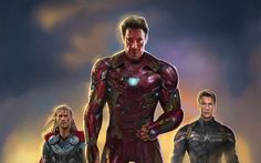 Download wallpapers Thor, Iron Man, Captain America, art, superheroes