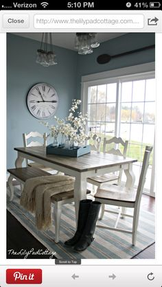 Dining area – the lily pad cottage. Love the two-toned table with bench! Source by amberlmartin Dining area – the lily pad cottage. Love the two-toned table with bench! Style At Home, Dining Room Inspiration, Home Fashion, Dining Area, Dining Rooms, Blue Dinning Room, Dining Room Clock, New Kitchen, Kitchen Ideas