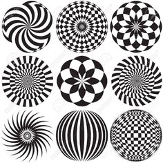 Illustration of Optical Art in Black and White vector art, clipart and stock vectors. Optical Illusion Tattoo, Optical Illusions, Geometric Art, Pattern Art, Painted Rocks, Line Art, Vector Art, Art Drawings, Illustration Art