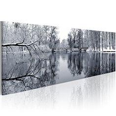 Cuadro en Lienzo Impresion en calidad fotografica, paisaje laguna blanco y negro