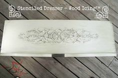 Stenciled Dresser ~ Wood Icing-Tutorial on how to make a dresser look wood carved via Designed Decor | Royal Design Studio