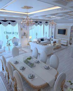 Gorgeous All White Apartment / Only Me ✌✔ xoxo Glam Living Room, Living Room Decor Cozy, Elegant Living Room, Mansion Interior, Home Interior Design, Luxury Home Decor, Luxury Living, Luxurious Bedrooms, Living Room Designs