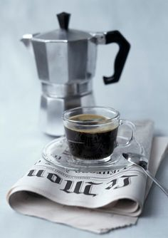 Black coffee and newspaper