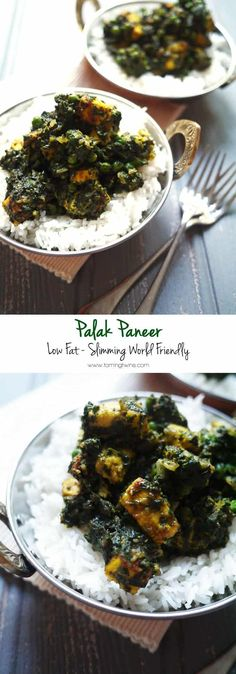 Slimming World Palak Paneer Recipe - Low Syn Low Fat Slimming World Palak Paneer - Low fat, low calorie, packed with veggies, the perfect vegetarian fake-away! Veggie Recipes, Indian Food Recipes, Cooking Recipes, Healthy Recipes, Bean Recipes, Lunch Recipes, Indian Vegetarian Recipes, Noodle Recipes, Veggie Dishes