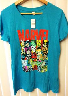 Marvel Superhero Comic Book Women Juniors Size XL Graphic Logo Blue T-Shirt Top  #LotusTee #GraphicTee