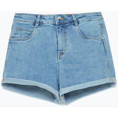 Zara Denim Shorts ($13) ❤ liked on Polyvore