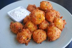 Jalapeno Cheddar Hush Puppies - light and crispy hush puppies with fresh cilantro dip - oh yeah!  #hushpuppies #friedfood