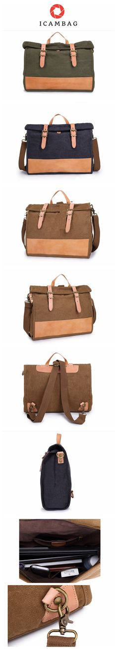 Canvas bag carry briefcase with the leather business man bag single-shoulder bag  TB944