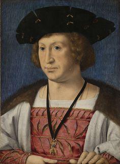 Jan Gossaert | Portrait of Floris van Egmond, Count of Buren en Leerdam, Jan Gossaert, c. 1519 | Portret van Floris van Egmond, graaf van Buren en Leerdam. Buste met een zwarte hoed op het hoofd en het ordeteken van Het Gulden Vlies om de hals.