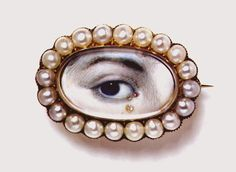 A miniature eye portrait with a diamond teardrop    'Eye miniatures', where one eye of the sitter  was painted, were all the rage from 1790 to 1810.  Most were tiny and set as brooches  V