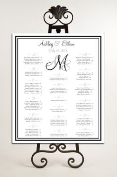 Monogram Seating Chart for Table Assignments for your Wedding Reception - Printable PDF File