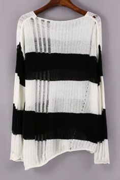Black White Openwork Long Sleeve Sweater WHITE AND BLACK: Sweaters   ZAFUL