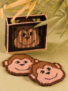 Mischievous Monkey Coasters Plastic Canvas Pattern Download from e-PatternsCentral.com -- Bring all the fun of the zoo to your home with this playful coaster set.