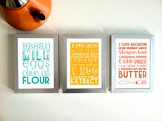 kitchen art prints - but customize with MY recipes