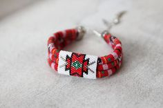 Red and White Ethnic Tribal Bracelet Colorful Multistrand