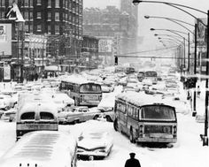 Traffic in Chicago comes to a stop in 1967. This is near Cermak and Wabash.